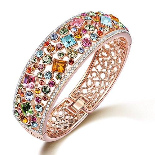 Multicolor Austrian Crystals Cuff Bracelet Rose