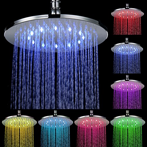 Mikgadn 10 Inch Battery-Free Led Color Changing Round Shower Head