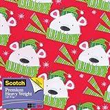 Scotch  Gift Wrap, Winter Wishes Bear Pattern, 25-Square Feet, 30-Inch x 10-Feet (AM-WPWWB-12)