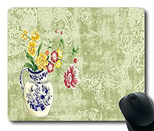 "1 X Flowers in vintage vase Unique Custom DIY Rectangle Mouse Pad Oblong Gaming Mousepad in 220mm*180mm*3mm (9""*7"") -1102034"