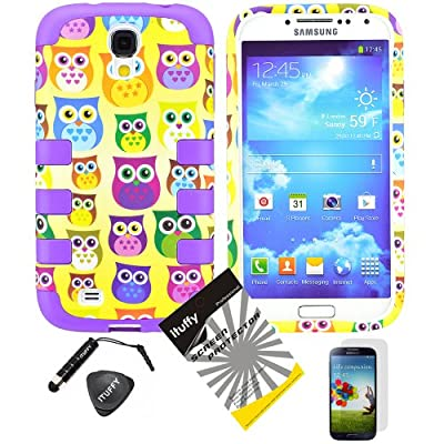 Click for 4 items Combo: ITUFFY(TM) LCD Screen Protector Film + Stylus Pen + Case Opener + Yellow Purple Green Blue Pink Cartoon Owl Design Rubberized Hard Plastic + Purple Soft Rubber TPU Skin Dual Layer Tough Hybrid Case for Samsung Galaxy S4 SIV i9500 (will fit 4th Generation only)