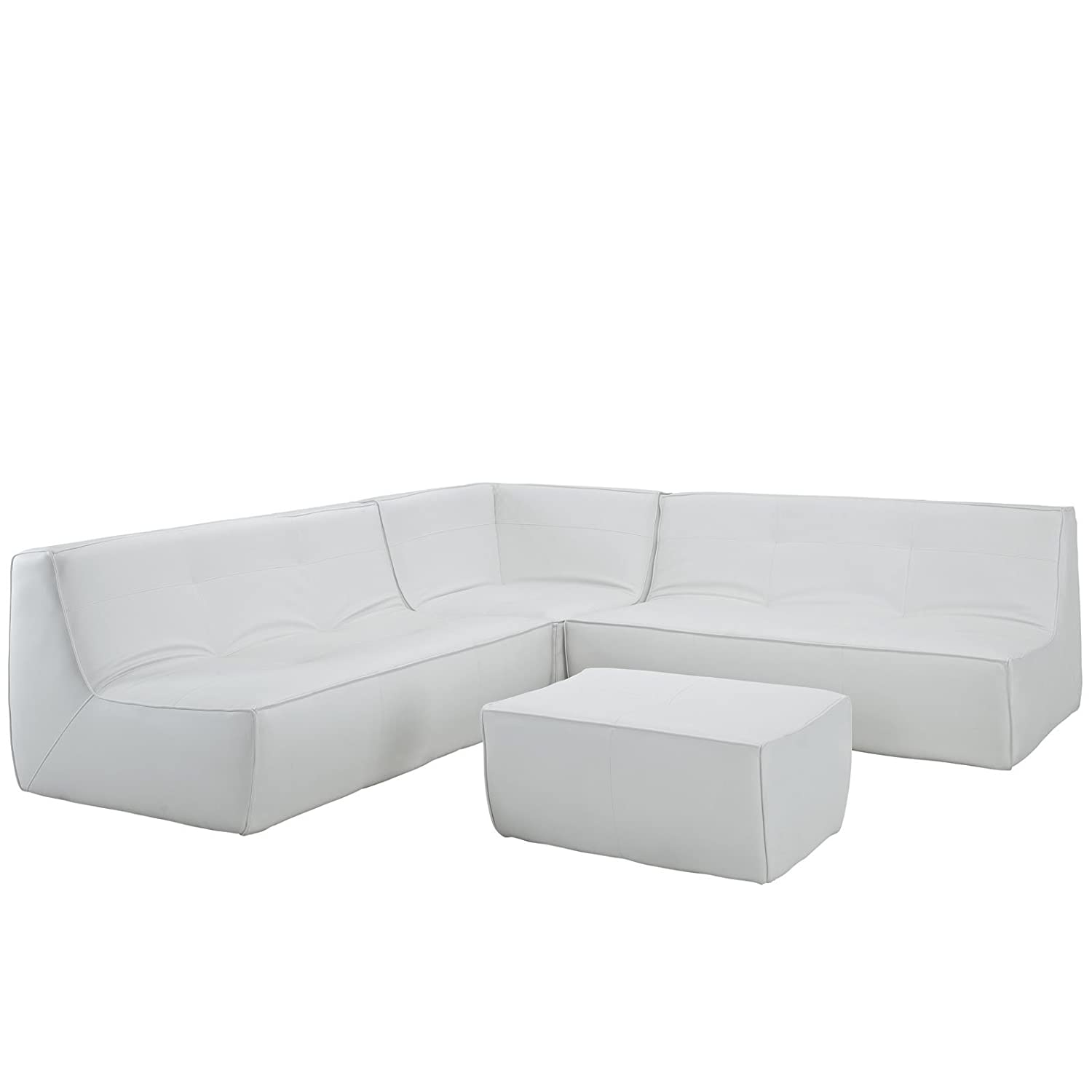 Modern Contemporary Four Pcs Leather Sectional Sofa White