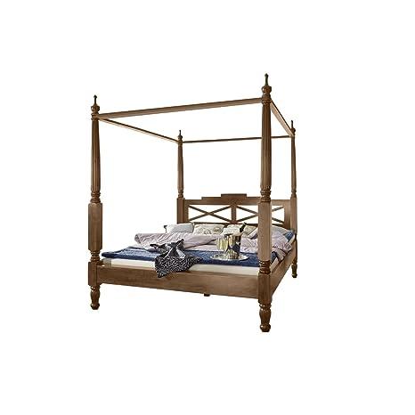 SAM® Design Himmelbett Fernando aus Sheesham, Holzbett in natur, verspieltes Design, widerstandsfähige Oberfläche, Bett ist ein Unikat, Doppelbett im Landhaus-Stil, 160 x 200 cm [53256873]