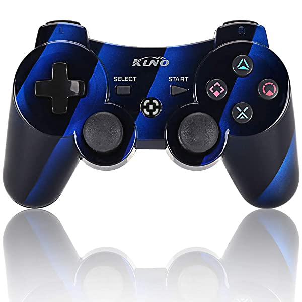 PS3 Controller Wireless PS3 Games Remote - KLNO Sixaxis Dualshock Gamepad, Best Gifts for Kids,Son, Father in Family Playing with USB Charger Cable (Interval Blue) (Color: Interval Blue)