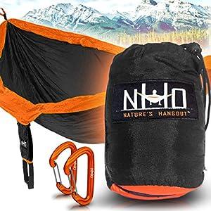 Premium Camping Hammock - Large Double Size, Portable & Lightweight. Aluminum Wiregate Carabiners Included. Ultralight Ripstop Parachute Nylon (Black/Orange)