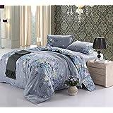 Cotton Blend Printed Floral Pattern Duvet Cover Sets, King Size