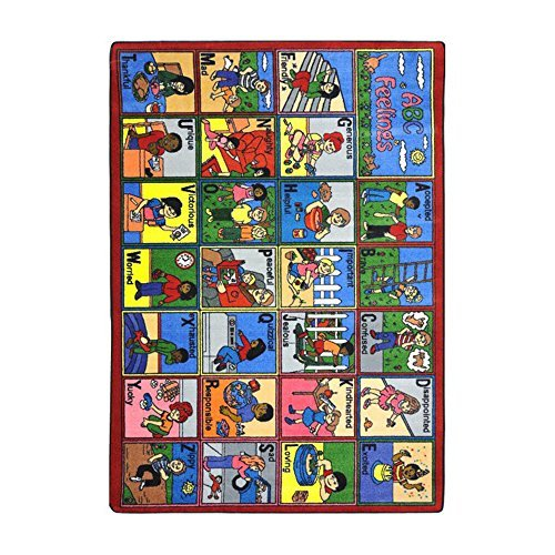 "Joy Carpets Kid Essentials Early Childhood ABC Feelings Rug, Multicolored, 5'4"" x 7'8"""