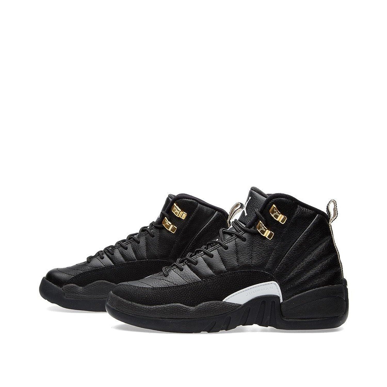 9bd86a4d15d5 ... Nike Air Jordan Retro 12 THE MASTER Youth BIG Kids G.S Black Rattan  White Metallic Gold ...