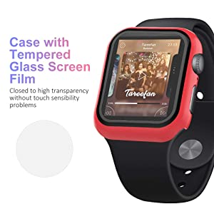 UMTELE Compatible for Apple Watch Series 1 2 3 38mm Case with Built-in Tempered Glass Screen Protector, Slim Guard Shock-Proof Bumper Full Coverage Hard Protective Cover Replacement with iWatch, Red (Color: Red, Tamaño: 38 mm)