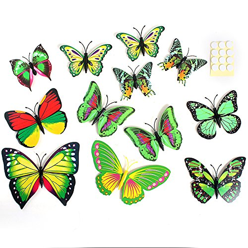 2013Newestseller 12Pcs Colorful 3D Butterfly Sticker Art Design Decal Wall Stickers Home Room Decor front-946656