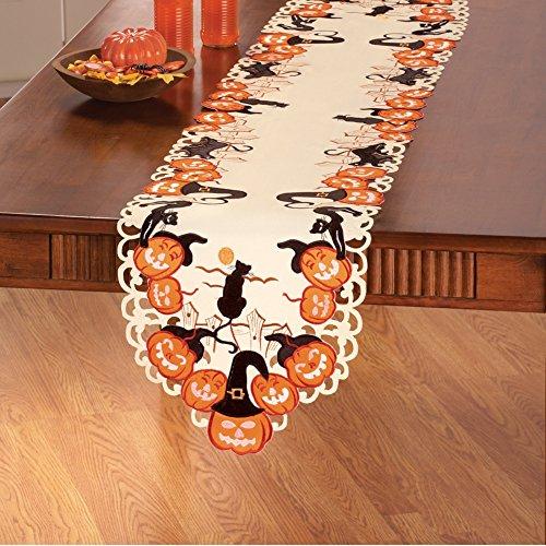 [Cats and Pumpkins Halloween Table Linens, Runner] (Halloween Cut Out Patterns For Pumpkins)