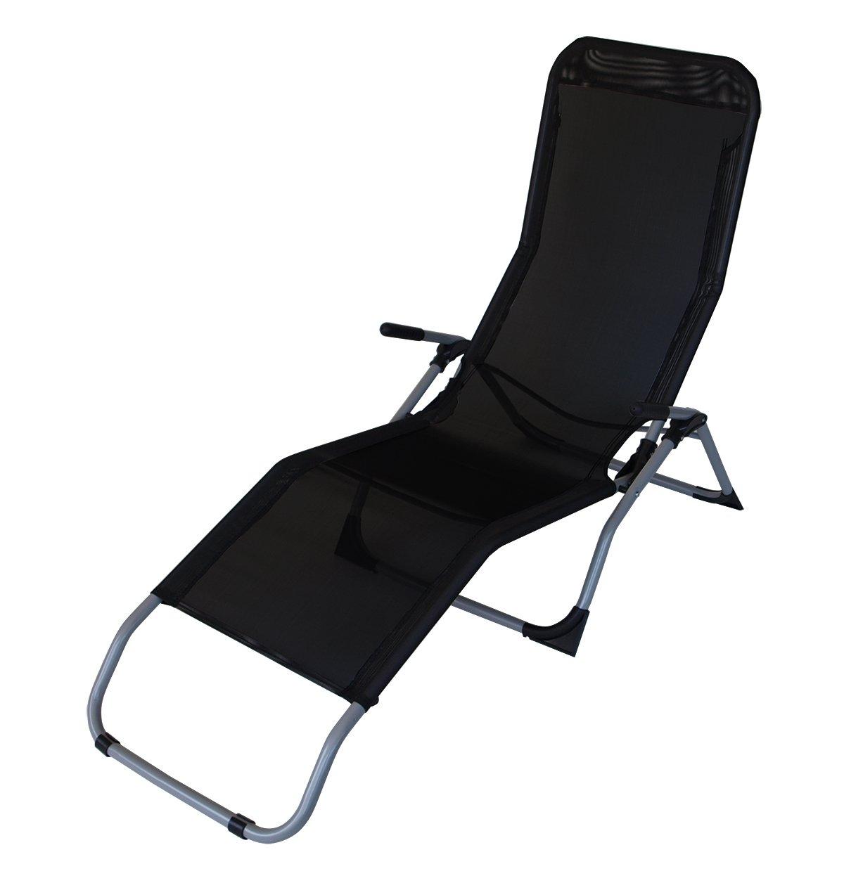 Gesundheitsliege SYLT, Stahl + Textilene schwarz, faltbar, für Innen + Außen
