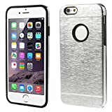 Generic Brushed Aluminium Alloy Metal + Silicone Combo Back Case For IPhone 6 - Black/Silver