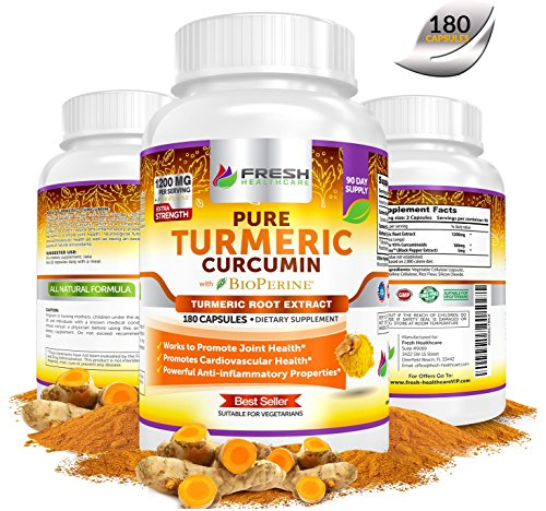 TURMERIC CURCUMIN BioPerine w/ 95% Curcuminoids ? 3 MONTH SUPPLY ? Extremely Potent Anti Inflammatory & Anti Oxidant Benefits for Pain Relief & Health ? 180 Vegan Powder Capsules by Fresh Healthcare