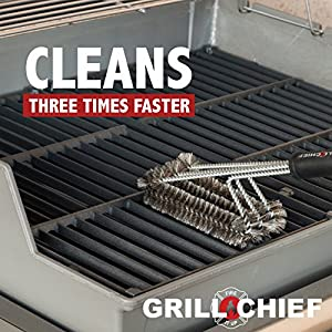"BBQ Grill Brush By GRILL CHIEF® - 18"" - 3 Stainless Steele Brushes in 1 - Best Barbecue Cleaner Tools Accessories - Outdoor Kitchen Wire Bristles Cleaning Grates Parts Set to Handle Weber Charcoal, Charbroil, Gas, Electric, Porcelain, Infrared Grills"