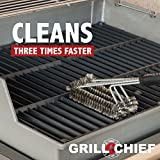 """BBQ Grill Brush By GRILL CHIEF® - 18"""" - 3 Stainless Steel Brushes in 1 - Best Barbecue Cleaner Tools Accessories - Outdoor Kitchen Wire Bristles Cleaning Grates Parts Set to Handle Weber, Charbroil, Gas, Electric, Porcelain, Infrared Grills"""