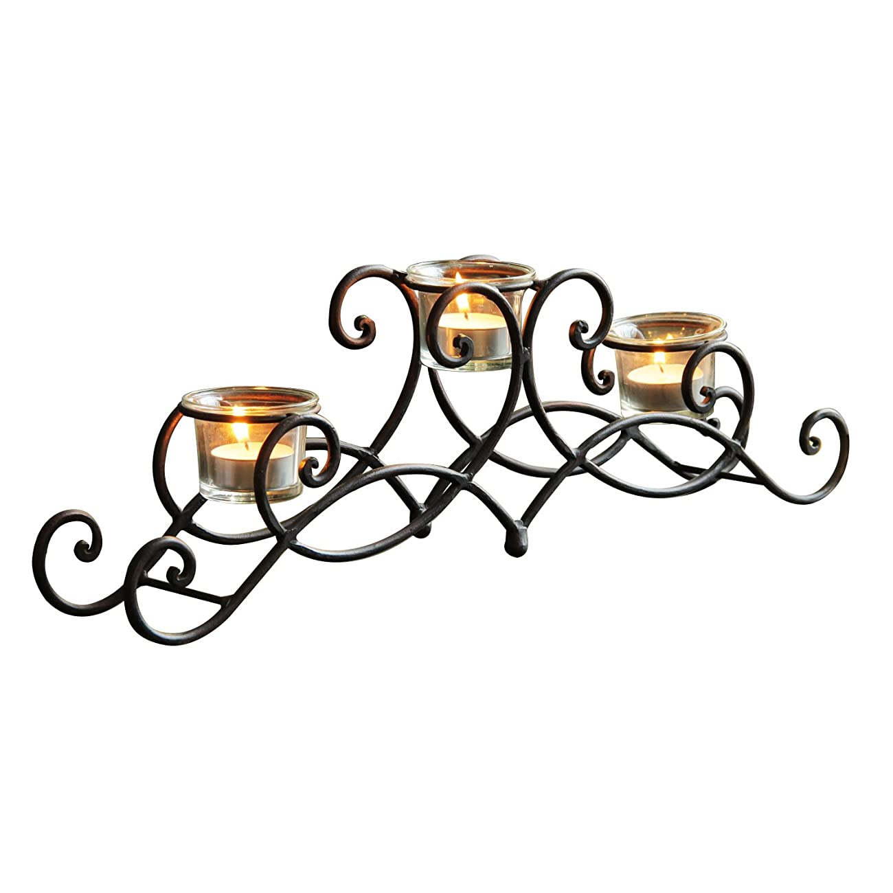 ELEGAN Black Iron Table Top Candle Holder, Holds 3 Tea lights 0