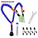 NEWACALOX Helping Hands with 4 Clamps and Tin Wire, Third Hand Mag Hand Soldering Tool Holder (Color: White)