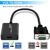 YEHUA VGA to HDMI Adapter Cable 1080P VGA Male to HDMI TV Converter with 1.0 M Charging and 0.8M Stereo Audio Cables for Computer, Laptop, PC, Monitor