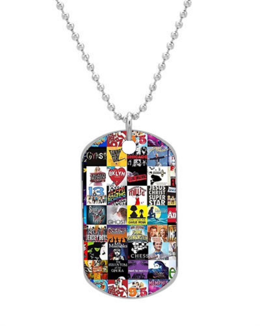 Broadway Collage Dog Tag Dimensions 1.3X2.2X0.1 inches ,Comes with 30 inches beads chain