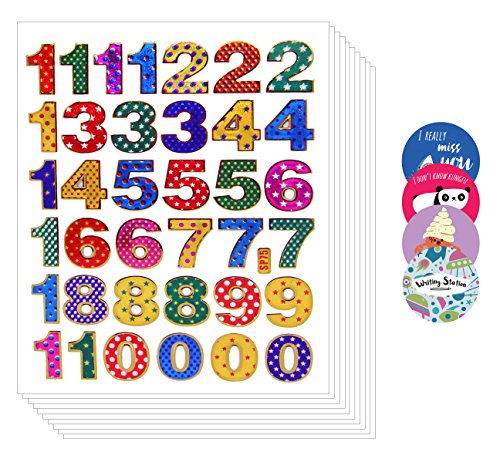 0 to 9 Colorful Decorative Sticker - Primary Number Peel Label (Pack of 10 sheets, Assorted Color) (Nail Stickers Numbers compare prices)