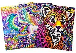 Lisa Frank Glitter 2 Pocket Folder Bundle: 3 Items - (1) Dancing Dolphins, (1) Skye Unicorn, (1) Hunter Leopard