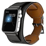 For Apple Watch Band,CHEEDAY iWatch Cuff Genuine Leather Strap iWatch Band Bracelet Replacement Wristband with Stainless Steel Adapter Metal Clasp for Apple Watch Series 3/2/1 (Black 42mm) (Color: Black-42mm)