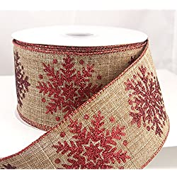 "Snowflake Linen Burlap Red Glitter Ribbon 2 1/2"" 20 Yards"