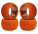 ITOS365 Handmade Beaded Napkin Rings Holder for Dinning Table Parties Everyday Orange, Set of 4