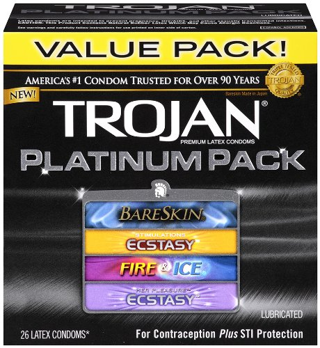 Trojan Condom Platinum Pack Lubricated, 26 Count