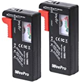 Battery Tester Checker by WeePro 2pack - UniversalBattery Tester Monitorfor AA AAA C D 9V 1.5VButton Cell Batteries - Household Battery Life Level Testers (Color: Redbalck)