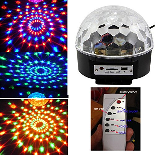 Amars(Tm) Six Color Led Party Lighting Disco Dj Stage Lights Outdoor Indoor Crystal Magic Ball Sound Control With Remote For Home Club Party Halloween Christmas