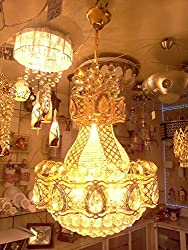 S M Arcade Magnificent Gold Finish Crystal Chandelier with Dual Lights (SM-11-101)