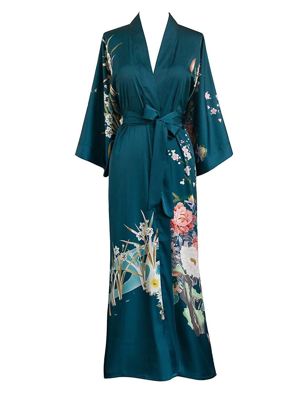 Old Shanghai Women's Kimono Robe Long - Watercolor Floral 0