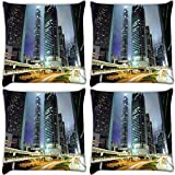 Snoogg Road Trips At Night Pack Of 4 Digitally Printed Cushion Cover Pillows 18 X 18 Inch