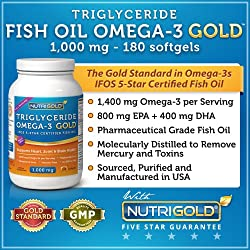 #1 Omega 3 Fish Oil Capsules - Triglyceride Omega-3 GOLD - 1000mg, 180 Softgels (Contains 1400 mg of Omega-3s per Serving) (Pharmaceutical Grade) (1200mg EPA + DHA)