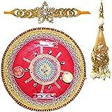 Handcrafted Ganesha Design Steel Pooja Thali Gift With Single Fancy Rakhi & Designer Lumba For Bhabhi For Rakhi...