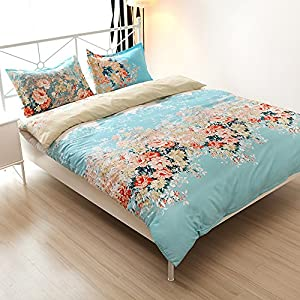 Cotton Blend Well Designed Floral Pattern Printed Duvet Cover Sets, Full Queen Size
