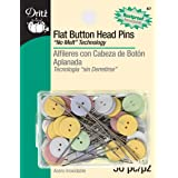 Dritz 67 Flat Head Pins, Button, 1-3/4-Inch (50-Count) (Color: Silver, Tamaño: 1-3/4-Inch)