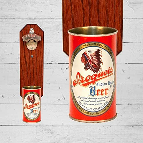 Wall mounted bottle opener with vintage iroquois beer can cap catcher handmade - Wall mounted beer bottle opener cap catcher ...