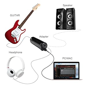 Guitar Effects Interface Adapter Converter Link Devices for iPhone/iPod/iPad/Ipod Touch (Tamaño: Adapter)