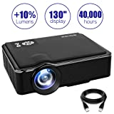 SOMEK Projector 2400 Lumens LED Mini 1080P Projector, Portable Movie Projector HDMI USB TF VGA AV, Multimedia Home Theater with HDMI Cable K99(Black) (Color: Black)