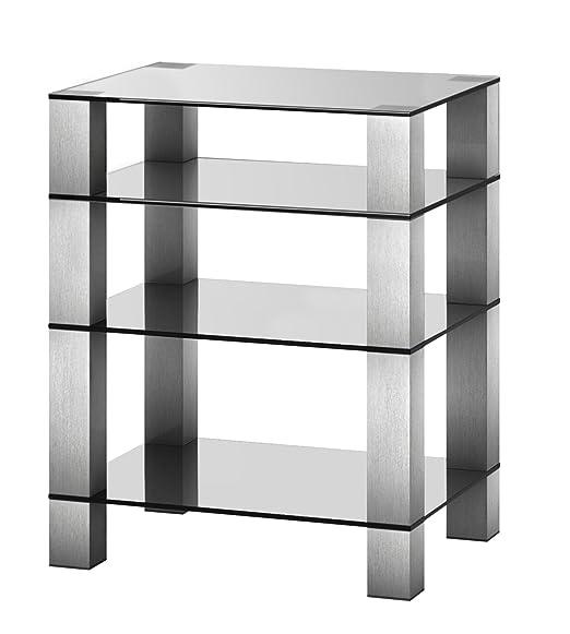RX5040 TG - Mueble HIFI 4 estantes. Vidrio transparente/ Chasis gris.