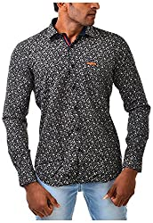 Casinova Men's Satin Casual Shirt (3003_B-Large, Black, Large)