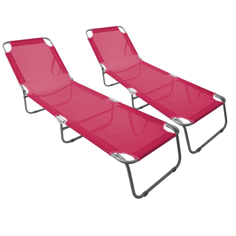 2 Stück Klappliege mit verstellbarer Rückenlehne 198x58cm komfortable Textilenbespannung in Pink Campingliege Sonnenliege Gartenliege / 1B-Ware günstig bestellen
