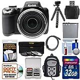 Kodak PixPro AZ525 Astro Zoom Wi-Fi Digital Camera with 32GB Card + Battery + Backpack + Flex Tripod + 3 Filters + Kit