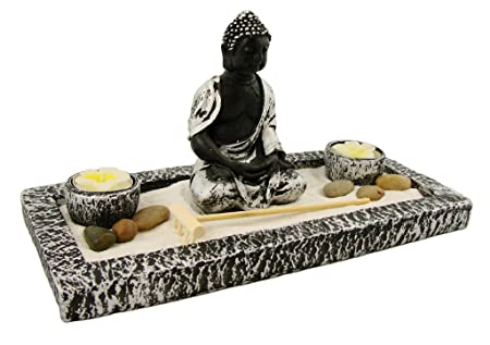 zen garten inkl buddha statue kerzen und viel zubeh r feng shui. Black Bedroom Furniture Sets. Home Design Ideas