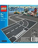 Lego Briques - 7281-Plaques De Route-Intersection Et Virage