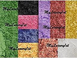 25g - 2.5g EACH Mineral Mica Powder Soap Dye Cosmetic Colorant 8 Sample GREEN Black PINK Blue 24 Karat Gold WHITE Copper YELLOW Burgundy PURPLE DIY Pigments