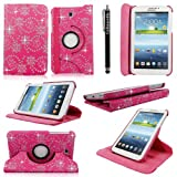 Cellularvilla Samsung Galaxy Tab 3 7 Inch P3200 P3210 Tablet Pink Glitter 360 Degree Rotating Flip Folio Case Cover with Auto Sleep/wake Feature Stand+Stylus Touch Pen